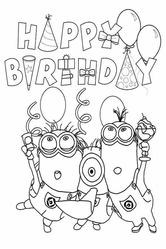 Party With Hello Kitty Minions Coloring Page Happy Birthday