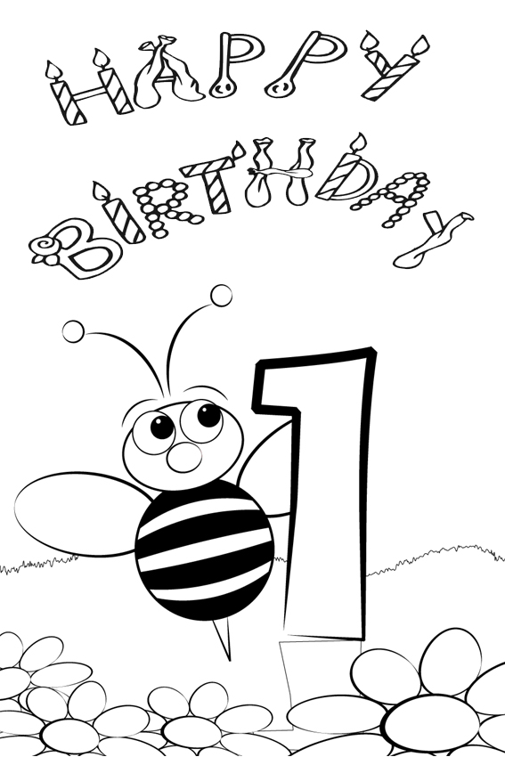 Coloring Pages Celebrate Your First Birthday With Dinos Lightning McQueen Happy Bee Day