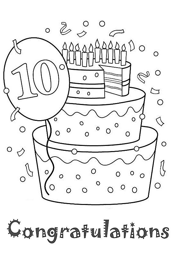 Birthday coloring page for a girl congratulations coloring page