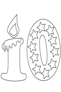 Tenth birthday coloring page