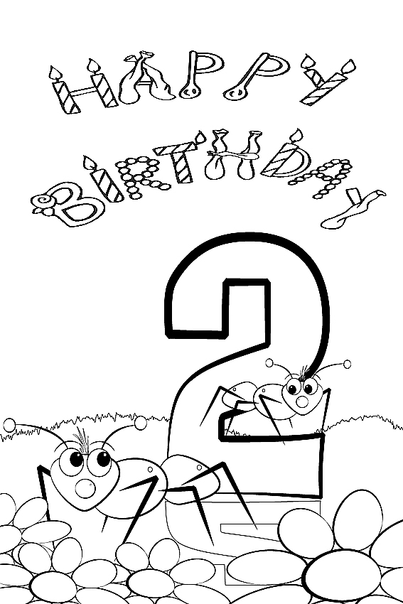 happy birthday coloring pages 2