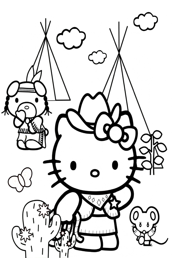 Coloring Page Of Hello Kitty And Friends Cowboy
