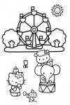 Hello Kitty coloring page at the circus