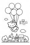 Hello Kitty in the sky with balloons