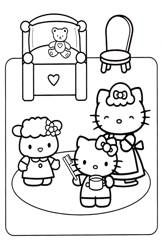 Hello Kitty Baking Coloring Pages : Hello kitty coloring pages overview with a lot of kitties