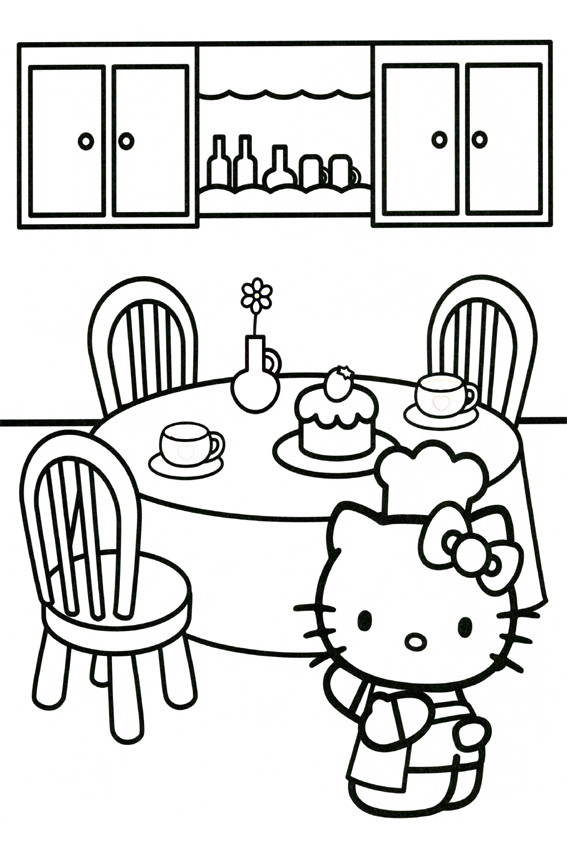 Cake Coloring Page Hello Kitty Cooking In