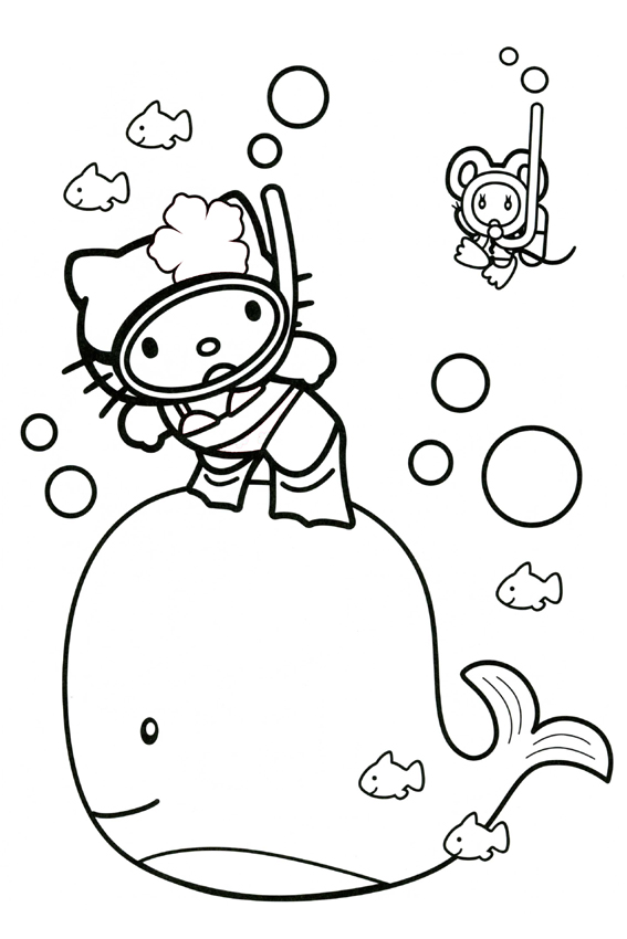 Hello Kitty Playing Football Tennis Sailing In The Ocean Swimming With A Whale