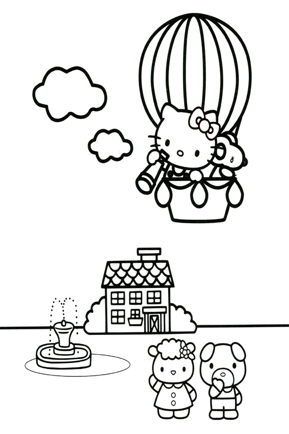 Hello Kitty With Balloons Coloring Pages : Hello kitty coloring pages overview with a lot of kitties