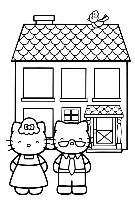 Hello Kitty coloring pages overview with a lot of Kitties