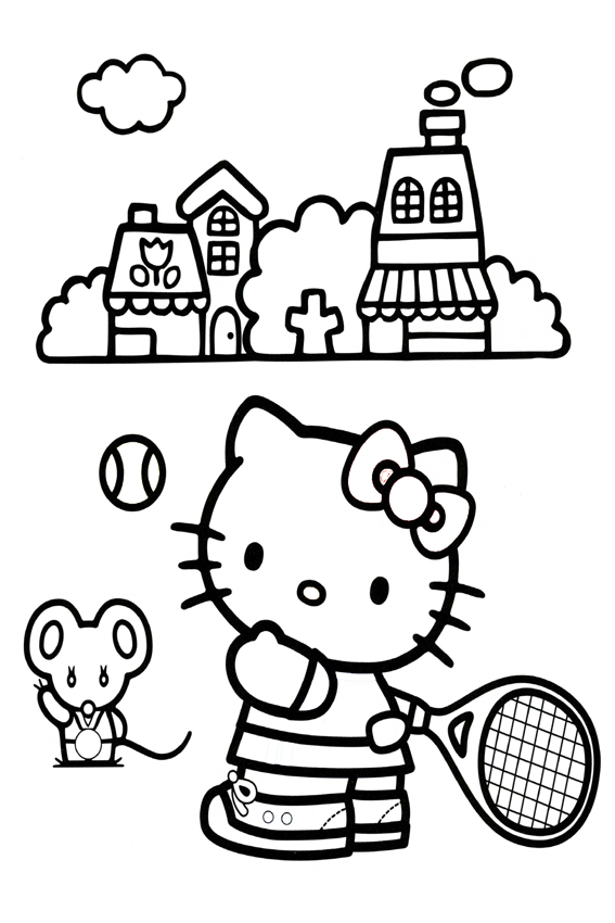 Hello Kitty Soccer Coloring Pages : Hello kitty coloring pages overview with a lot of kitties
