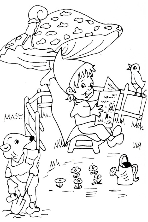 Autumn Coloring Pages Gnome