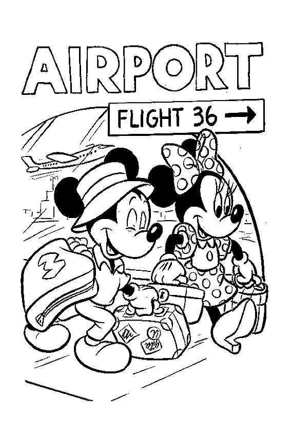 Mickey and Minnie Mouse coloring pages for you to color in