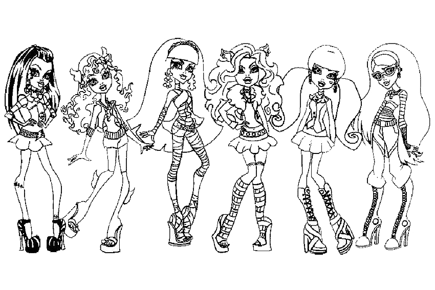 Monster High coloring pages from some school monsters