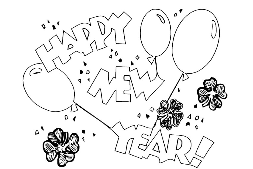 Couple Watching Fireworks Flares Coloring Page Happy New Year