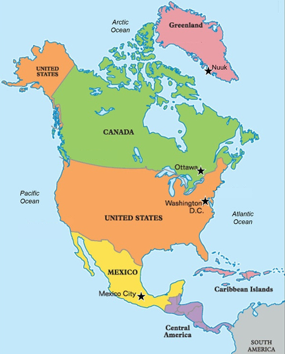 United States Canada Greenland Map The continent North America | Only Kids Only