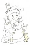 Snowman with baby bunnies