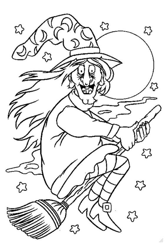 Halloween coloring pages from monsters witches ghosts etc for Coloring pages of witches